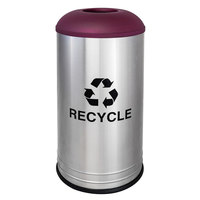 Ex-Cell Kaiser RC-1531 D-6 SS BURX International Collection 18 Gallon Cafe Style Stainless Steel Recycling Receptacle with Burgundy Texture Lid