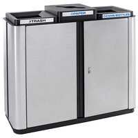 Ex-Cell Kaiser ECH3-2TR SS/BL Echelon Collection Stainless Steel 75 Gallon Indoor Three-Stream Receptacle with 2 Trash Openings and 1 Co-Mingle Opening