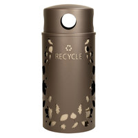 Ex-Cell Kaiser NS33-LV R BRZX Nature Series 33 Gallon Steel Brown Leaves Recycle Receptacle