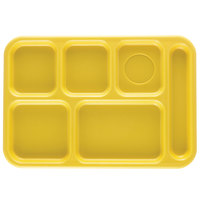 Cambro BCT1014145 Yellow Budget 6 Compartment Serving Tray - 24/Case