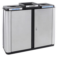 Ex-Cell Kaiser ECH3-2R SS/BL Echelon Collection Stainless Steel 75 Gallon Indoor Three-Stream Receptacle with 2 Co-Mingle Openings and 1 Trash Opening