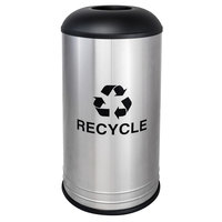 Ex-Cell Kaiser RC-1531 D-6 SS BLX International Collection 18 Gallon Cafe Style Stainless Steel Recycling Receptacle with Black Texture Lid