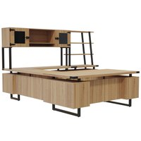 Safco MR1SDD Mirella Typicals Sand Dune U-Shaped Desk Set with Glass Door Hutch, Lateral File, and 3-Shelf Bookshelf