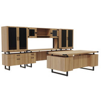 Safco MR8SDD Mirella Typicals Sand Dune Desk Set with Credenza, Glass Door Hutch, 2 Lateral Files, and 2 Glass Door Display Cabinets