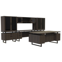 Safco MR8STO Mirella Typicals Southern Tobacco Desk Set with Credenza, Glass Door Hutch, 2 Lateral Files, and 2 Glass Door Display Cabinets