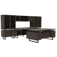Safco MR9STO Mirella Typicals Southern Tobacco Desk Set with Glass Door Cabinet, Glass Door Hutch, 2 Lateral Files, and 2 Glass Door Display Cabinets
