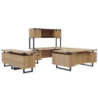 Safco MR3SDD Mirella Typicals Sand Dune U-Shaped Desk Set with Wood Door Hutch, Storage Cabinet, and Lateral File