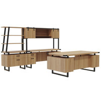 Safco MR5SDD Mirella Typicals Sand Dune Desk Set with Credenza, Wood Door Hutch, Lateral File, and 3-Shelf Bookshelf