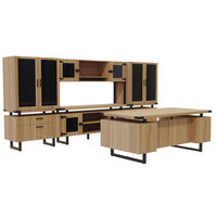 Safco MR9SDD Mirella Typicals Sand Dune Desk Set with Glass Door Cabinet, Glass Door Hutch, 2 Lateral Files, and 2 Glass Door Display Cabinets