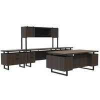 Safco MR4STO Mirella Typicals Southern Tobacco Desk Set with Credenza, Wood Door Hutch, and Lateral File