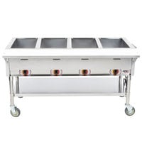 APW Wyott PST-4S Four Pan Exposed Portable Steam Table with Stainless Steel Legs and Undershelf - 2000W - Open Well, 240V