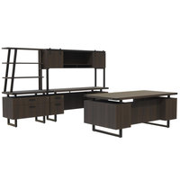 Safco MR5STO Mirella Typicals Southern Tobacco Desk Set with Credenza, Wood Door Hutch, Lateral File, and 3-Shelf Bookshelf