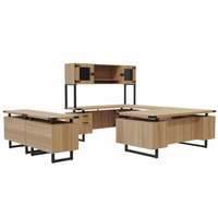 Safco MR2SDD Mirella Typicals Sand Dune U-Shaped Desk Set with Glass Door Hutch, Storage Cabinet, and Lateral File