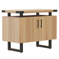 Safco MRSCT36SDD Mirella 36 inch x 20 inch x 29 1/2 inch Sand Dune Storage Cabinet with Wood Doors
