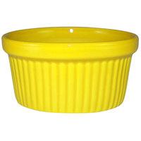 International Tableware RAMF-4-Y Cancun 4 oz. Yellow Stoneware Fluted Ramekin - 36/Case