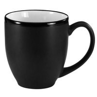 International Tableware 81376-02/05MF-05C Hilo 16 oz. White In / Black Out Stoneware Bistro Cup - 12/Case