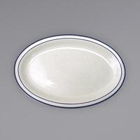 International Tableware DA-12 Danube 9 3/4 inch x 7 1/2 inch Ivory (American White) Blue Speckled Narrow Rim Stoneware Platter with Blue Bands - 24/Case