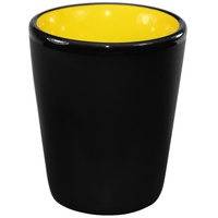 International Tableware 81122-2900/05MF-05C Hilo 2 oz. Yellow In / Black Out Stoneware Shot Glass - 24/Case