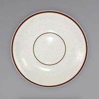 International Tableware GR-2 Granada 6 inch Ivory (American White) Brown Speckled Stoneware Saucer - 36/Case