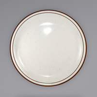 International Tableware GR-8 Granada 9 inch Ivory (American White) Brown Speckled Narrow Rim Stoneware Plate - 24/Case