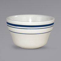 International Tableware CT-4 Catania 8 oz. Ivory (American White) Stoneware Bouillon with Blue Bands - 36/Case