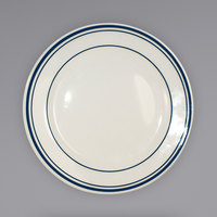 International Tableware CT-16 Catania 10 1/4 inch Ivory (American White) Stoneware Plate with Blue Bands - 12/Case