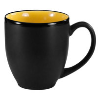 International Tableware 81376-2900/05MF-05C Hilo 16 oz. Yellow In / Black Out Stoneware Bistro Cup - 12/Case