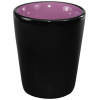 International Tableware 81122-2583/05MF-05C Hilo 2 oz. Purple In / Black Out Stoneware Shot Glass - 24/Case