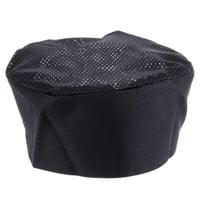 Chef Revival H008-XL 22 inch-23 1/2 inch Black Extra Large Poly-Cotton Blend Pill Box Chef Hat
