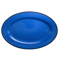 International Tableware CF-13 Campfire 11 1/2 inch x 8 1/4 inch Speckle Ocean Blue Rolled Edge Stoneware Platter - 12/Case