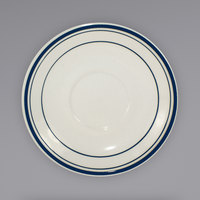 International Tableware CT-36 Catania 5 1/8 inch Ivory (American White) Stoneware Saucer with Blue Bands - 36/Case