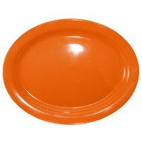 International Tableware CAN-13-O Cancun 11 3/4 inch x 9 1/4 inch Orange Stoneware Narrow Rim Platter - 12/Case
