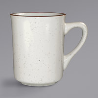 International Tableware GR-17 Granada 9 oz. Ivory (American White) Brown Speckled Stoneware Toledo Cup - 36/Case