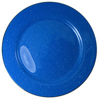 International Tableware CF-16 Campfire 10 1/2 inch Speckle Ocean Blue Rolled Edge Stoneware Plate - 12/Case
