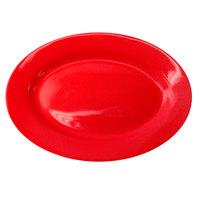 International Tableware CA-12-CR Cancun 10 3/8 inch x 7 1/4 inch Crimson Red Stoneware Wide Rim Platter - 24/Case