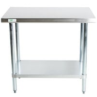 Regency 30 inch x 36 inch 18-Gauge 304 Stainless Steel Commercial Work Table with Galvanized Legs and Undershelf