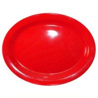 International Tableware CAN-13-CR Cancun 11 3/4 inch x 9 1/4 inch Crimson Red Stoneware Narrow Rim Platter - 12/Case