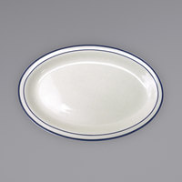 International Tableware DA-14 Danube 13 1/4 inch x 10 3/8 inch Ivory (American White) Blue Speckled Narrow Rim Stoneware Platter with Blue Bands - 12/Case