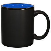 International Tableware 87168-2899/05MF-05C Hilo 11 oz. Country Blue In / Black Out Stoneware C-Handle Mug - 12/Case