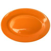 International Tableware CA-12-O Cancun 10 3/8 inch x 7 1/4 inch Orange Stoneware Wide Rim Platter - 24/Case