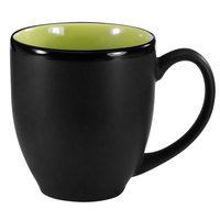 International Tableware 81376-2902/05MF-05C Hilo 16 oz. Rye Green In / Black Out Stoneware Bistro Cup - 12/Case