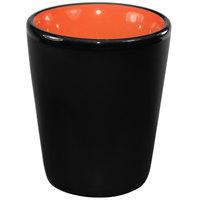 International Tableware 81122-2956/05MF-05C Hilo 2 oz. Orange In / Black Out Stoneware Shot Glass - 24/Case