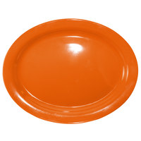 International Tableware CAN-14-O Cancun 13 1/4 inch x 10 3/8 inch Orange Stoneware Narrow Rim Platter - 12/Case