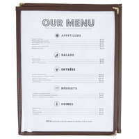 8 1/2 inch x 11 inch Three Pocket Fold Over Menu Cover - Brown