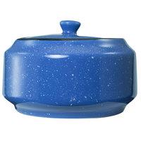 International Tableware CF-61 Campfire 14 oz. Speckle Ocean Blue Stoneware Sugar Bowl with Lid - 12/Case