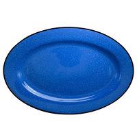 International Tableware CF-51 Campfire 15 1/2 inch Speckle Ocean Blue Rolled Edge Stoneware Platter - 12/Case