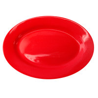 International Tableware CA-14-CR Cancun 12 1/2 inch x 9 inch Crimson Red Stoneware Wide Rim Platter - 12/Case