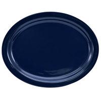 International Tableware CAN-14-CB Cancun 13 1/4 inch x 10 3/8 inch Cobalt Blue Stoneware Narrow Rim Platter - 12/Case