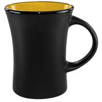 International Tableware 83570-2900/05MF-05C Hilo 11 oz. Yellow In / Black Out Stoneware Venturi Flared Mug - 12/Case