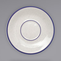 International Tableware DA-2 Danube 6 inch Ivory (American White) Blue Speckled Stoneware Saucer with Blue Bands - 36/Case